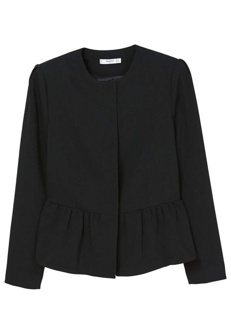 Mango Peplum Jacket, Black