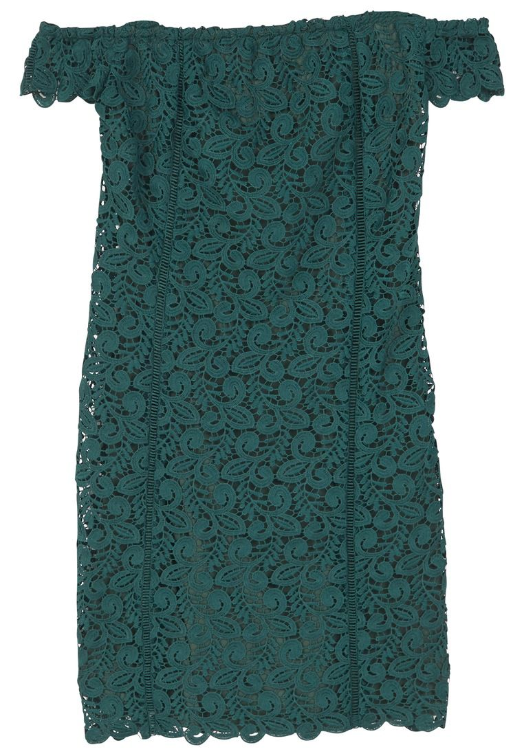 Mango Guipure Off-Shoulder Dress, Green