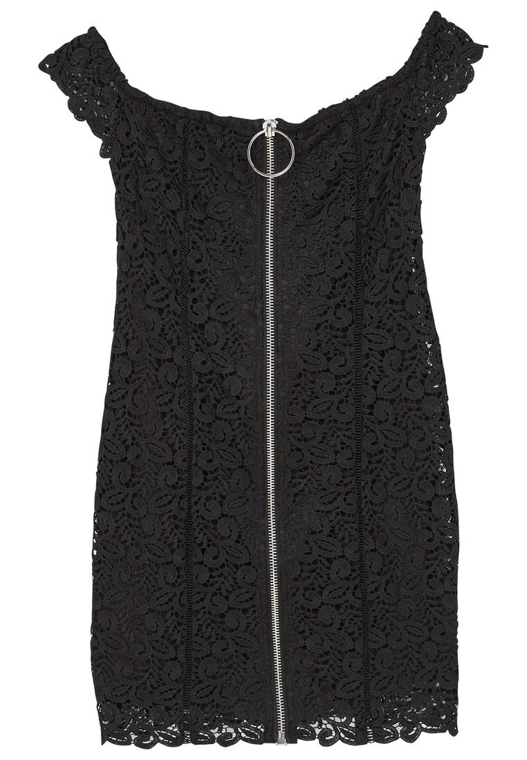 Mango Zipped Guipure Dress, Black