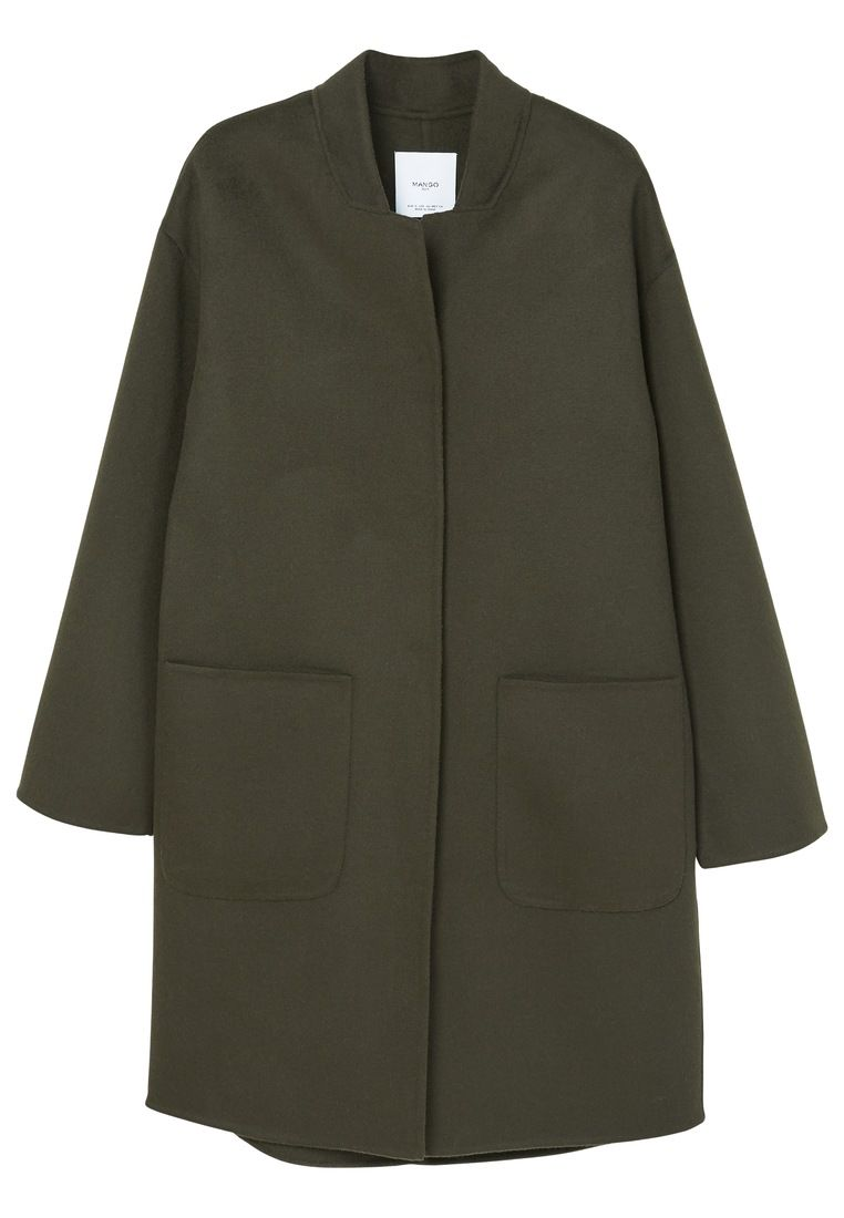 Mango Unstructured Wool Coat, Green