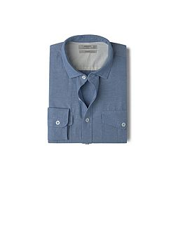 Slim-fit cotton linen-blend shirt