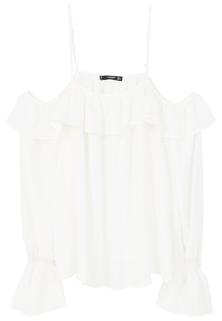Mango Flowy off-shoulder blouse, White