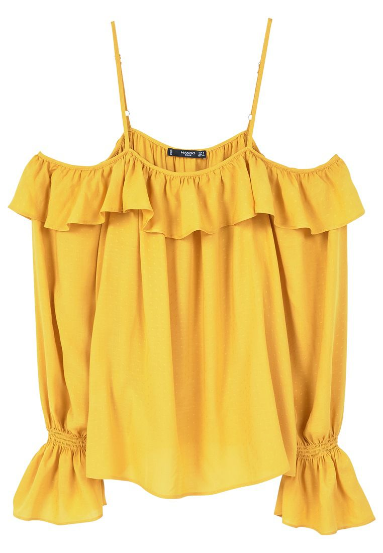 Mango Flowy off-shoulder blouse, Yellow