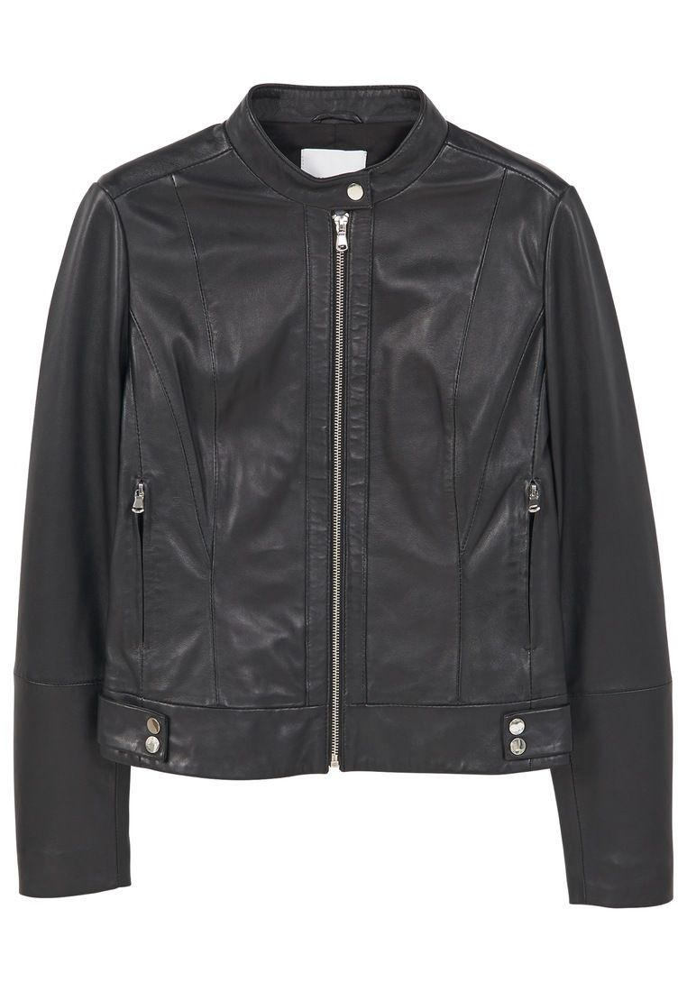 Mango Leather Bomber Jacket, Black