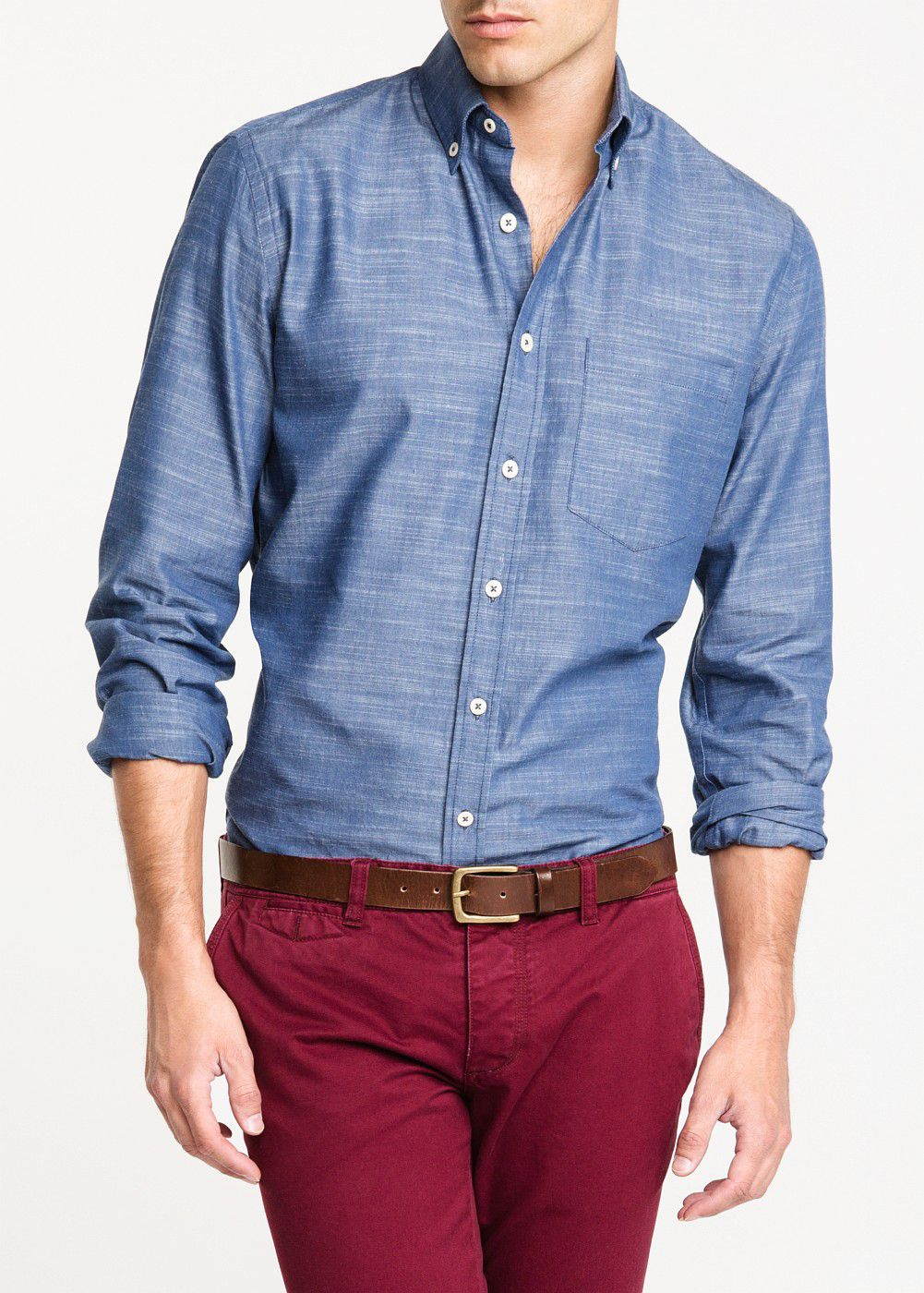 Slim-fit chambray cotton shirt