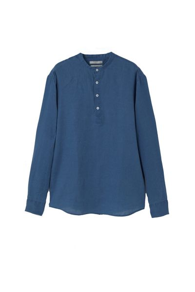 Mango Regular Fit Mao Collar Linen Shirt