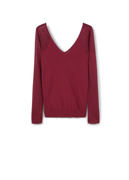 Mango Contrast sleeve sweater