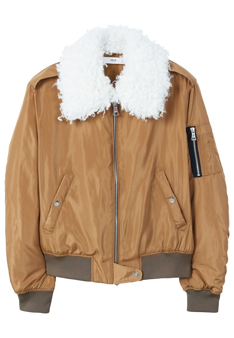 Mango Faux Shearling Collar Quilted Jacket, Brown