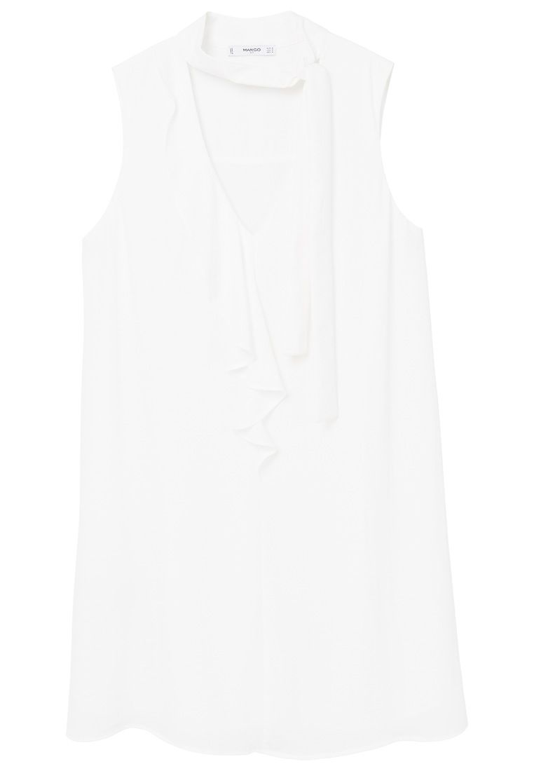 Mango Bow Neck Dress, White