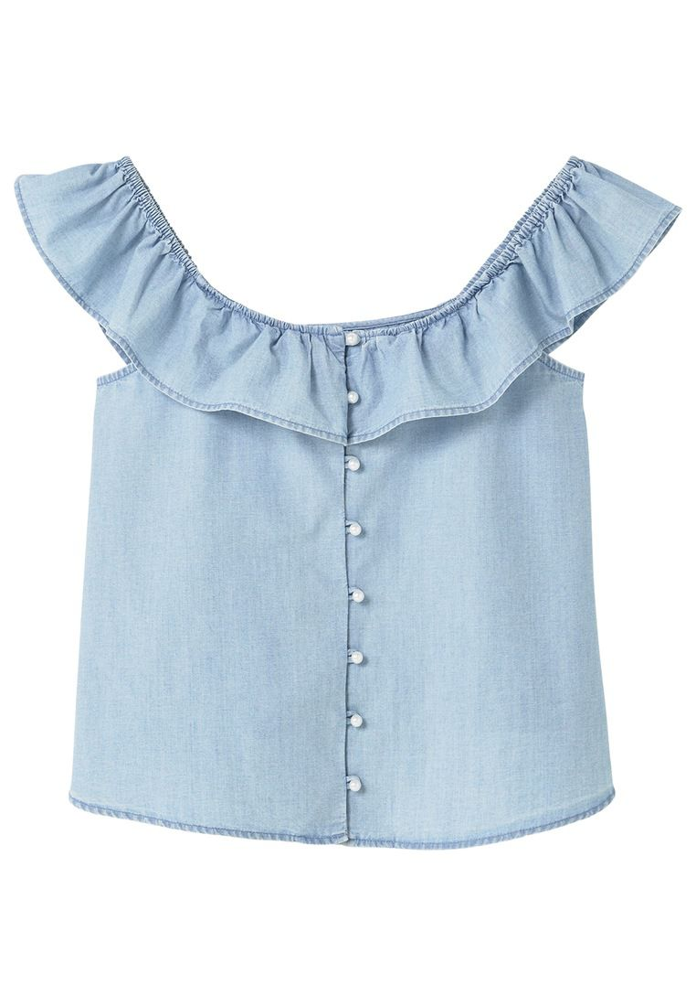 Mango Pearls off-shoulder top, Blue