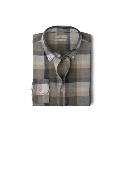 Mango Slim-fit check linen shirt
