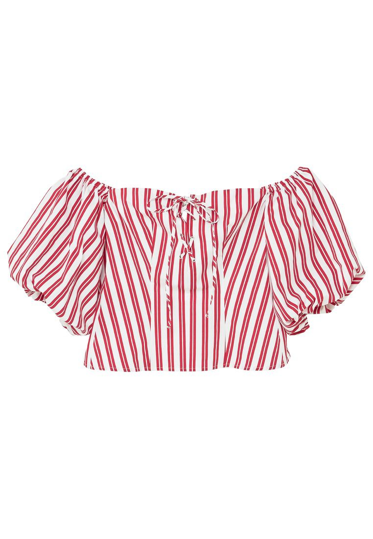 Mango Striped off-shoulder top, Red