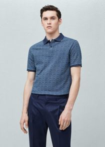 Mango Geometric-print polo shirt