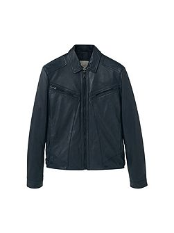 Leather aviator jacket