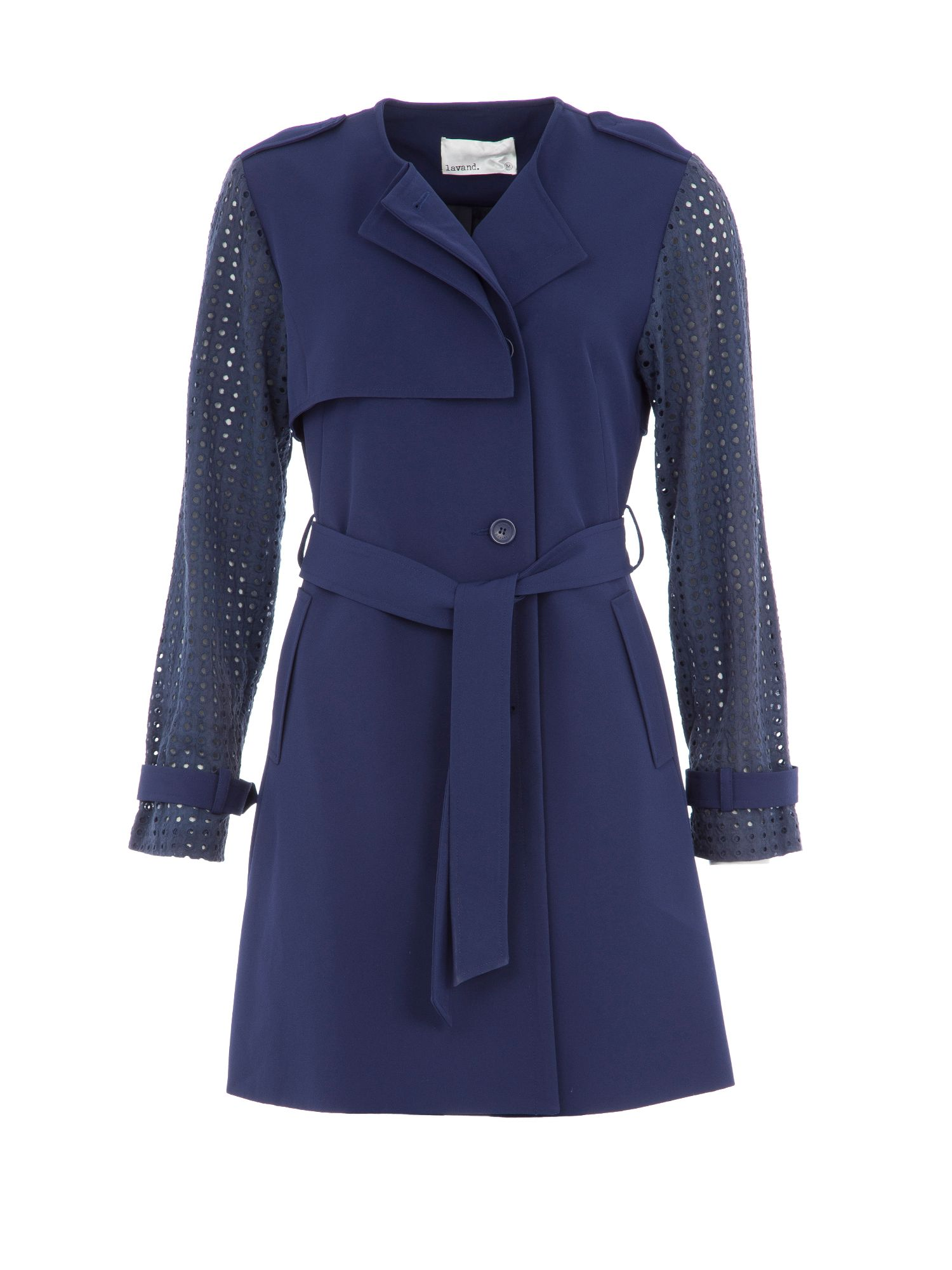 Lavand Lavand Trench Coat With Cut Out Detailing, Blue