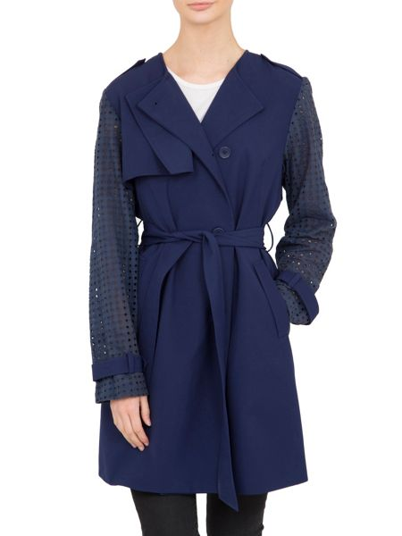 Lavand Trench Coat With Cut Out Detailing