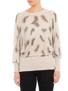 Lavand Pull Over with Feather Print
