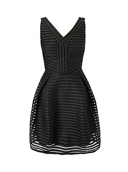Textured V-Neck Skater Dress