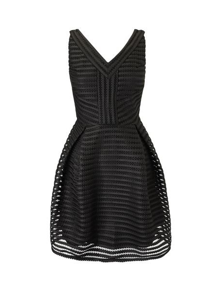 Lavand Textured V-Neck Skater Dress