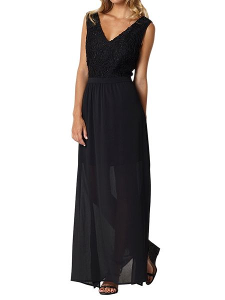 Lavand Maxi Dress With Sheer Overlay