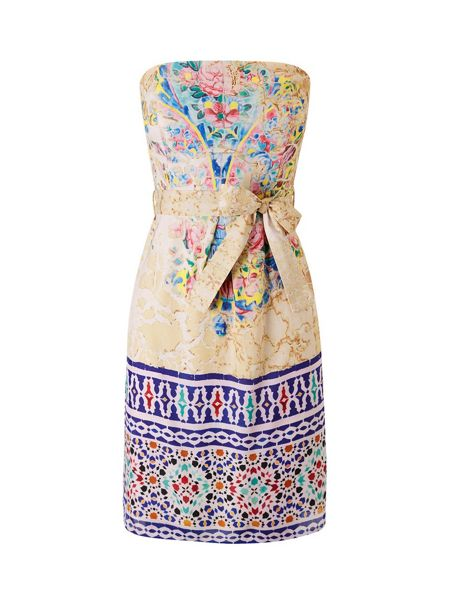 Lavand Strapless Print Dress