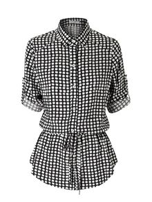 Lavand Printed Shirt With Tie Belt