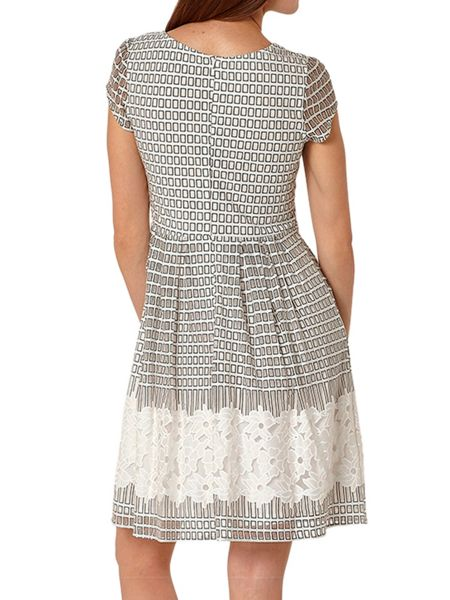 Lavand Skater Dress With Cutout Overlay