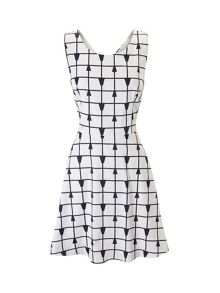 Lavand Cotton Print Skater Dress