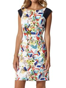 Lavand Cotton Floral Dress With Cap Sleeves