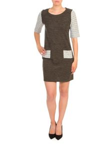 Lavand Dress with Contrast Sleeves And Pockets