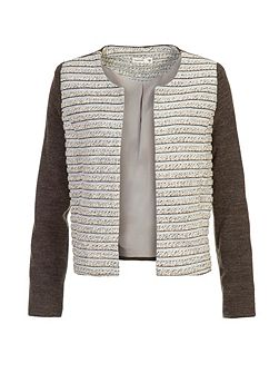 Collarless Textured Jacket