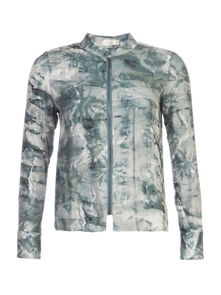 Lavand Zip Up Printed Shirt