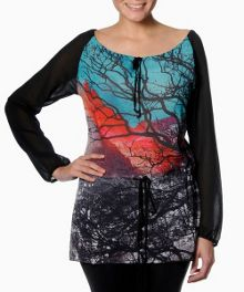 Fairport long sleeve printed tunic