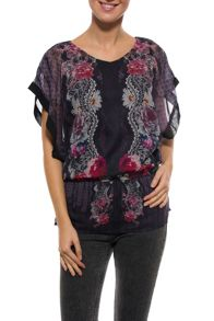 Keisha short sleeve sheer tunic