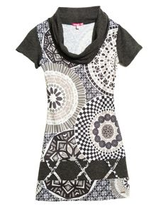 Monaco short sleeve printed dress