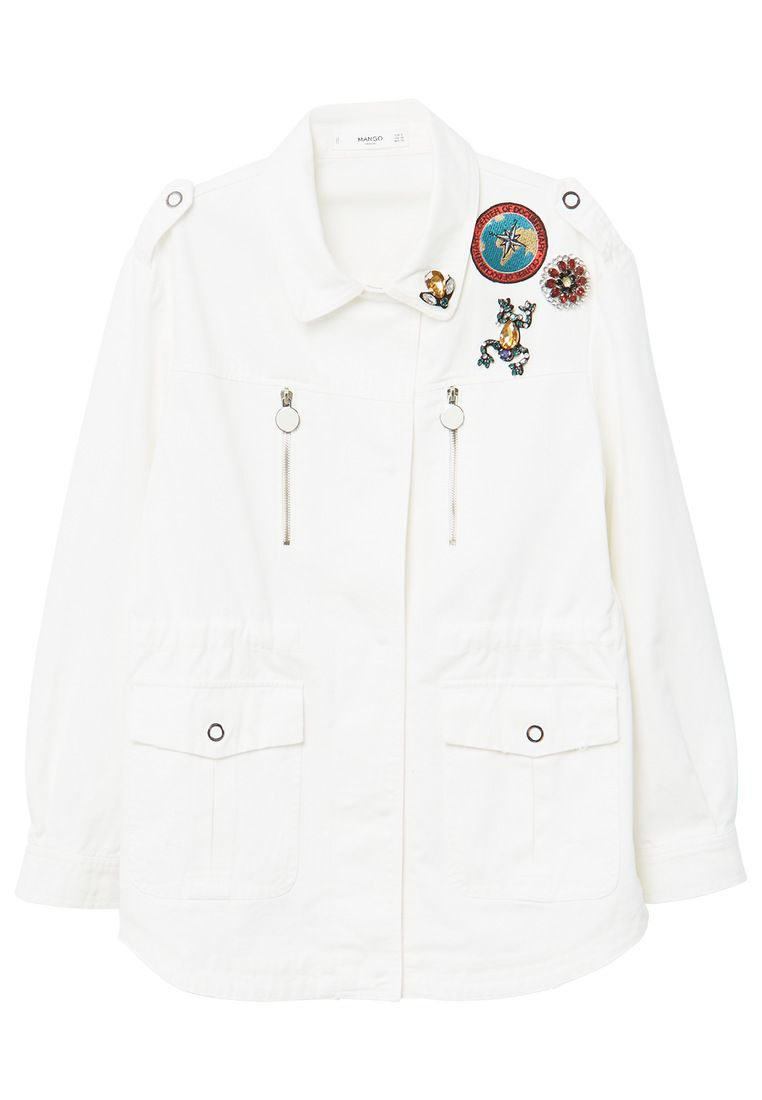 Mango Decorative Patches Cotton Jacket, White