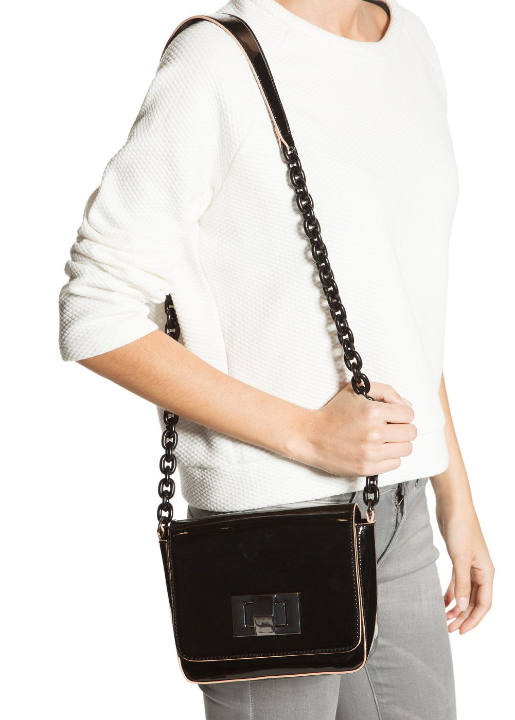 Patent cross body bag