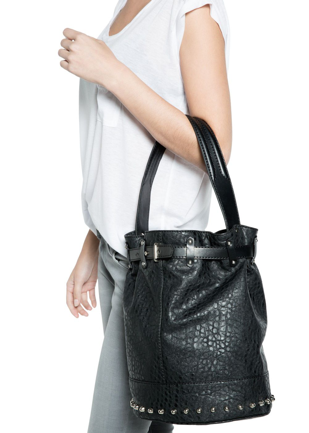 Studed bucket bag
