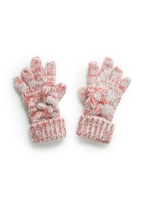 Girls chunky-knit gloves