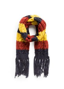 Boys tricolor cable-knit scarf