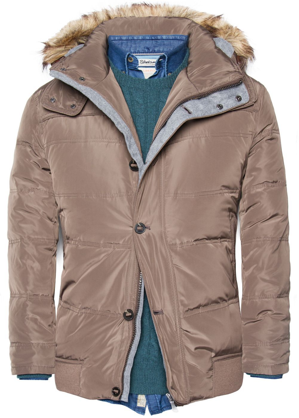 Hooded feather down coat