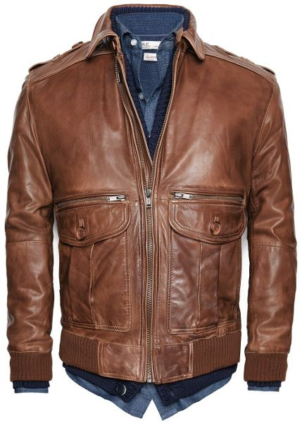 Mango Leather aviator jacket