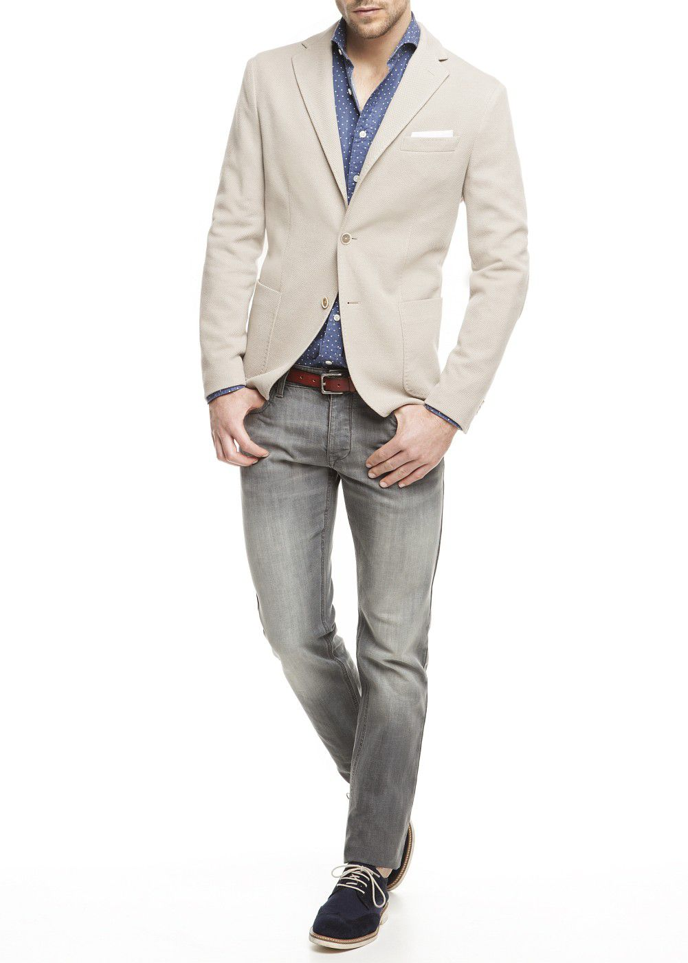 Cotton-blend pique blazer
