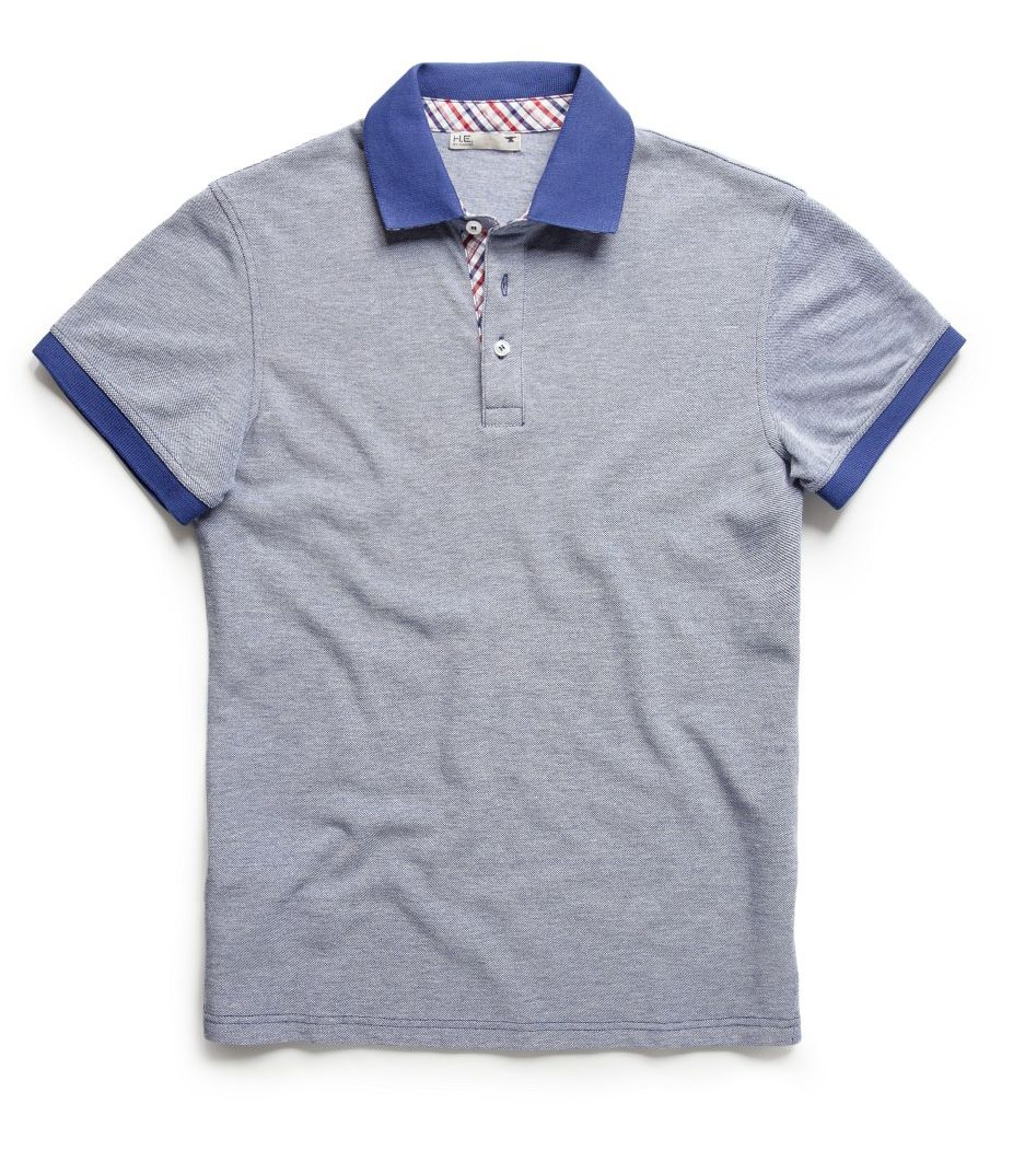 Check placket pique polo shirt