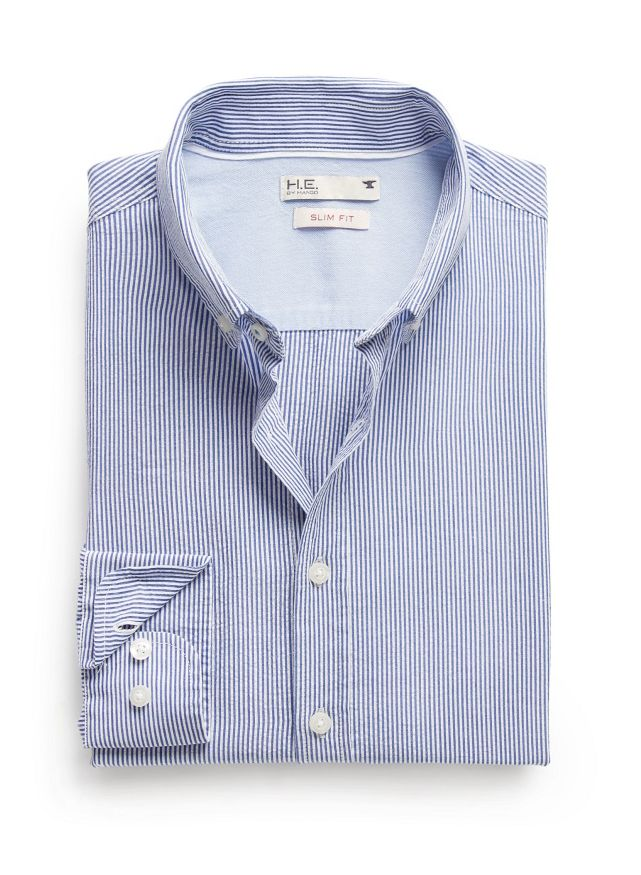 Slim-fit striped seersucker shirt