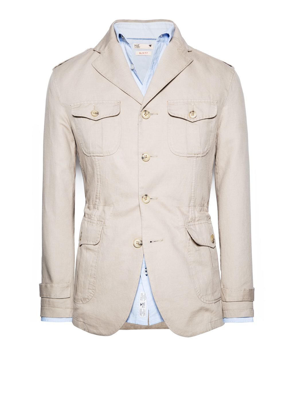 Linen cotton-blend field jacket
