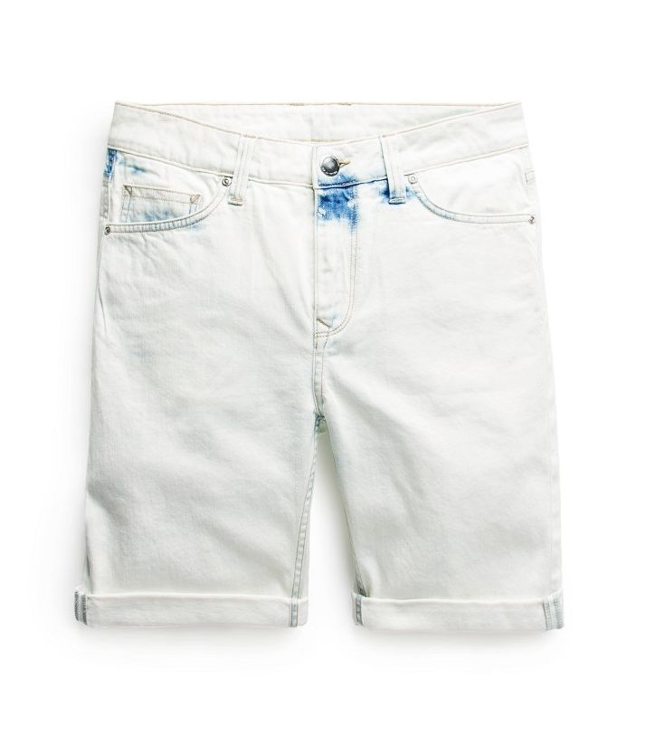 Bleach wash denim bermuda shorts