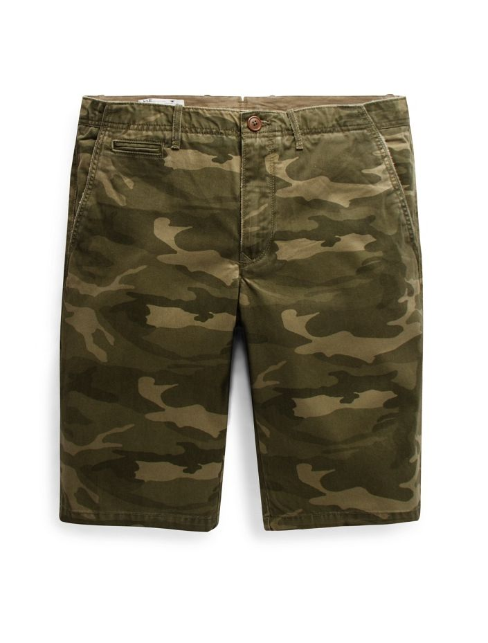 Camo-print cotton bermuda shorts