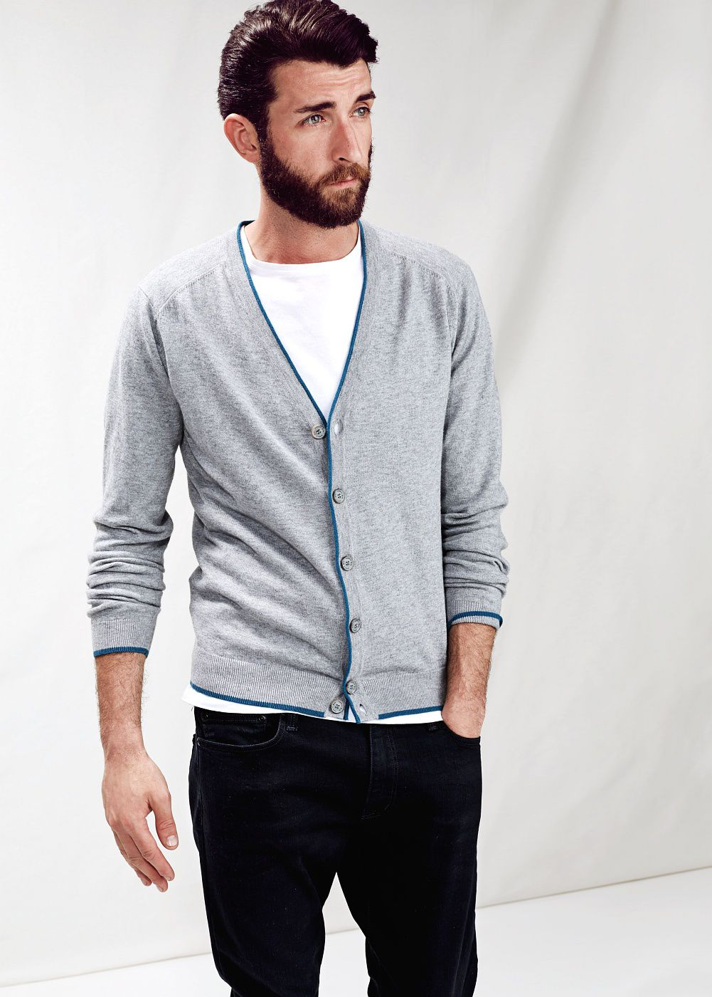 Contrast elbow-patch cardigan