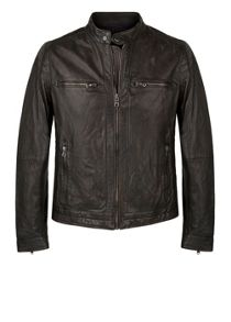 Quilted panel leather jacket